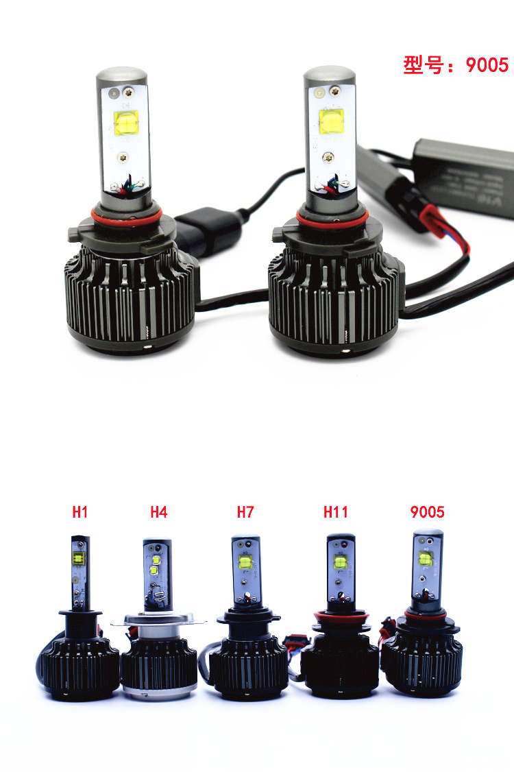 V16 Turbo 40w 80w 45w 4500lm 3600lm H4 hi/lo H1 H3 H7 H10 H11 H13 9005 9006 9007 All in one car led headlight kit Free Shipping