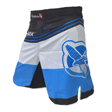 Blue stripes personalized breathable cotton boxer shorts sports training mma fight shorts muay thai clothing pretorian sanda