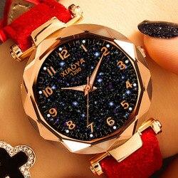 Женские кварцевые часы с циферблатом «Звездное небо», розовое золото