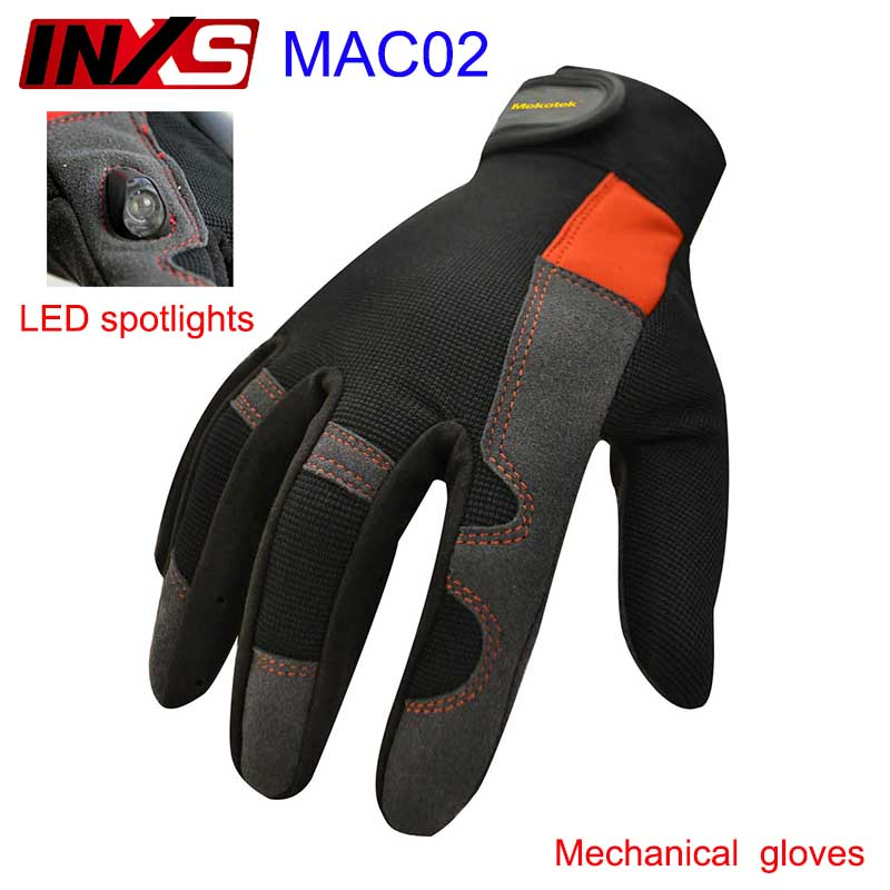 SAFETY-INXS  MAC02 band LED flashlight mechanic gloves High end Magic buckle Magic buckle Accident relief  safety glove<br>