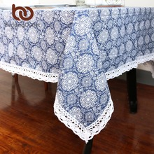 BeddingOutlet Blue Flower Tablecloth Cotton And Linen Dinner Table Cloth Macrame Decoration Lacy Table Cover Elegant 9 Size(China)