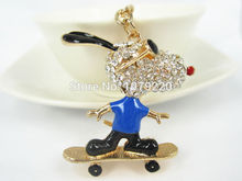Buy T Gold Skateboarding Dog Keychain Car Keyring Rhinestone Crystal Charm Pendant Key Bag Chain Gift New Fashion Free for $1.98 in AliExpress store