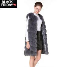 Real Fur Vest and Coats Fox Fur coats women Natural Fox Fur Vest 90CM Womens Real Fox Fur Vest Long Coat Ship by DHL 5 days(China)