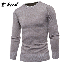 T-Bird Brand Clothing Men 2017 Fashion Sweater Simple Solid Color O-Neck Slim Fit Casual Pullover Men Sweaters Knitting Mens 3XL(China)