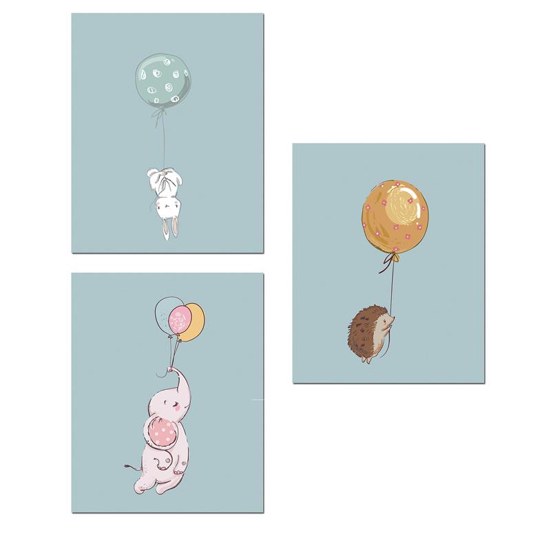 Kawaii-Animal-Rabbit-Elephant-Balloon-Wall-Art-Canvas-Posters-Prints-Nursery-Painting-Decorative-Picture-Kids-Room (1)