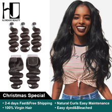 HJ Weave Beauty Bundles With Closure Brazilian Hair Weave Bundles 7A Virgin Hair Body Wave Human Hair Extension Free Shipping(China)