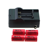 4pcs x GTL CR123A 2300mah Rechargeable Li-ion Battery 3.7V 16340 cr123 Batteries + 1pc x Worldwide Travel Wall Bateria Charger(China)