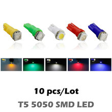10pcs DC12V T5  1 SMD Led  Car Auto Side Wedge Gauge Dashboard Gauge Instrument Light Lamp Bulb