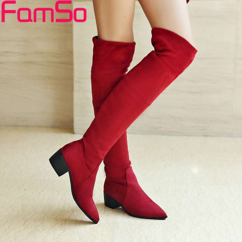 Plus Size 34-43 2017 New Classics Women Boots Black red thigh High Boots Designer Pointed Toe Winter motorcycle Boots SBT4442<br><br>Aliexpress