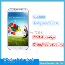 10pcs/lot 0.3mm Tempered Glass for Samsung Galaxy S4 Screen Protector Film 9H 2.5d Anti Finger Finger with Clean tools