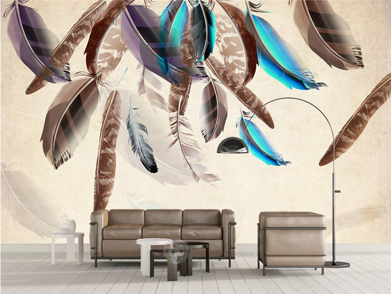 Custom Wall Paper 3d Fashion Color Feather Art Vintage Wallpaper TV Background Kitchen Study Bedroom Living Room 3d Wall Murals<br>