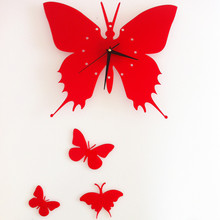 Hot DIY Wall Clock Decoration Acrylic Romantic Butterfly Wall Clock 3D Wall Clocks Bracket Bedroom Living Room Background
