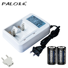 2017 Muti-Function Charger Smart LED Battery Charger For AA AAA C D Batteries +2pcs 4000mag C Size Rechargeable Batteris EU US