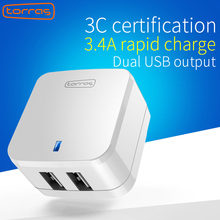 TORRAS 5V 2.4A Smart Travel Dual USB Charger Adapter Wall Portable Fast Charge Carregador Portatil for iPhone iPad iPod Tablet(China)