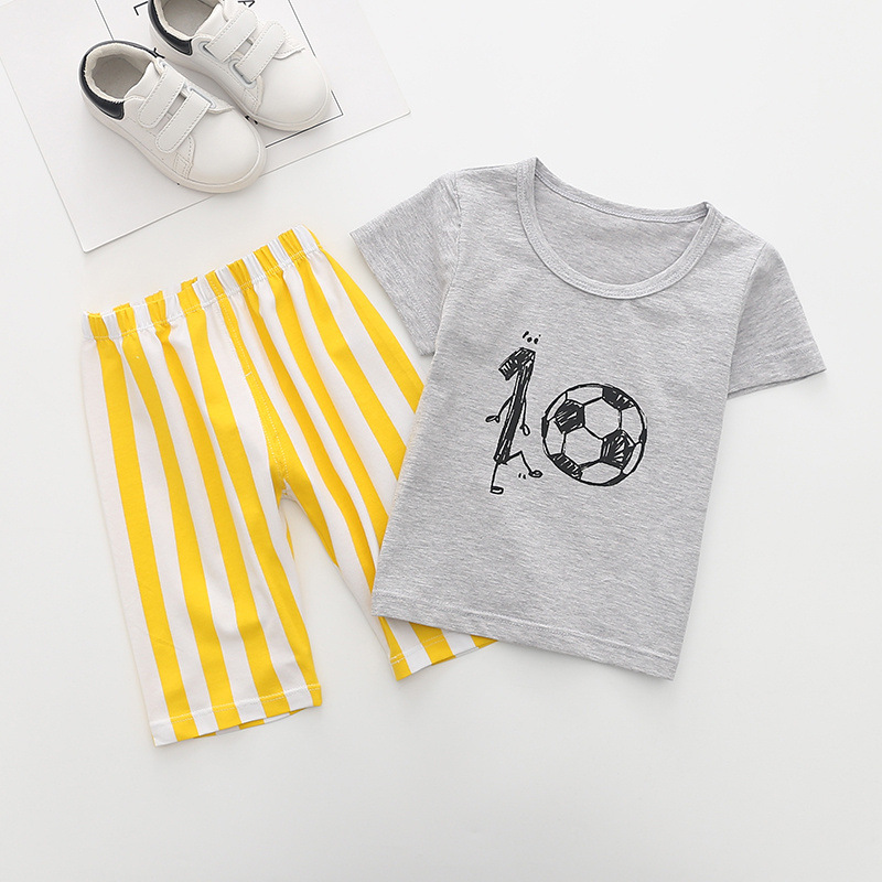 (6Pcs/lot) Summer Baby Boy Football Clothes Tops + Shorts 2Pcs Sport Suit Clothing Set Kids Boys Tracksuit Set Children Costume