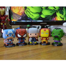 2016 Avengers Cute Version Captain America, Iron Man Toy Hulk Thor Spiderman Doll Model Children's Collection Holiday Gifts