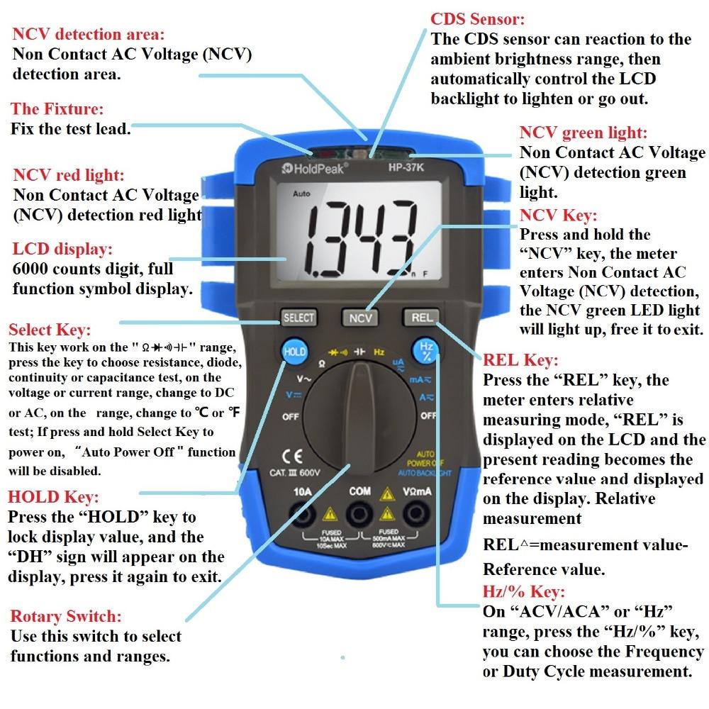 Mini Multimetro digital HoldPeak HP-37K Auto Range Digital Multimeter Resistance Capacitance Frequency  Testeur Electrique<br><br>Aliexpress