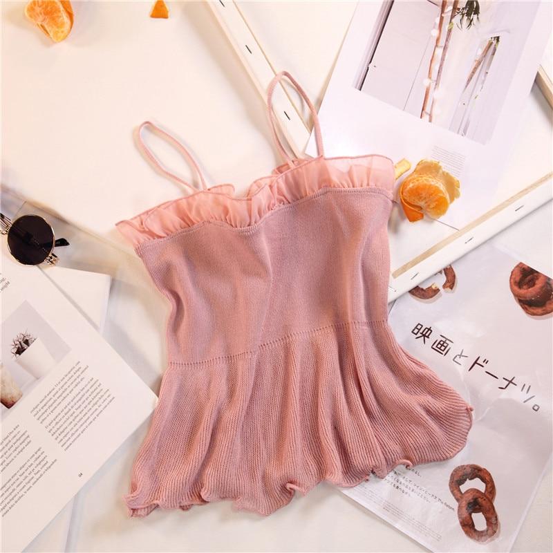 Women Fashion Knitting Patchwork Chiffon Ruffles Neck Cropped Tanks Tops Girls Knitted Tee shirts Camis crop Tops Female 19