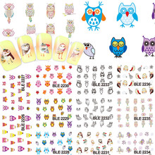 1sets 11 Style NEW Tips Nails Colorful Owls Cute Stamping Decals Nail Art Decorations Water Transfer Stickers Tools BLE2226-2236(China)
