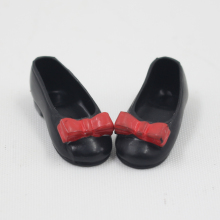 Free shipping Blyth doll rubber black flat shoes with a cute red bow suitable for joint body doll Factory Blyth(China)