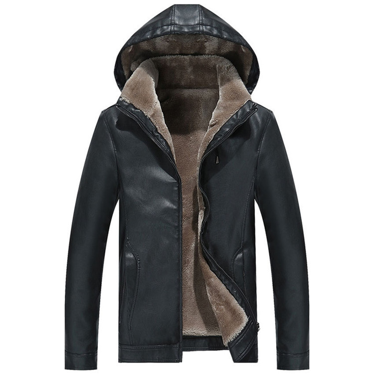 Winter Men's Leather Jacket Warm Thick PU Coat Male Thermal Fleece Jackets Faux Leather Men Brand Clothing