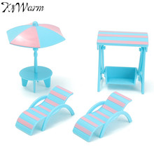 4Pcs/set Miniature Blue Plastic Beach Scene Set Dolls House Furniture Ornaments Figurines DIY For Kids Play Furniture Toy Gifts