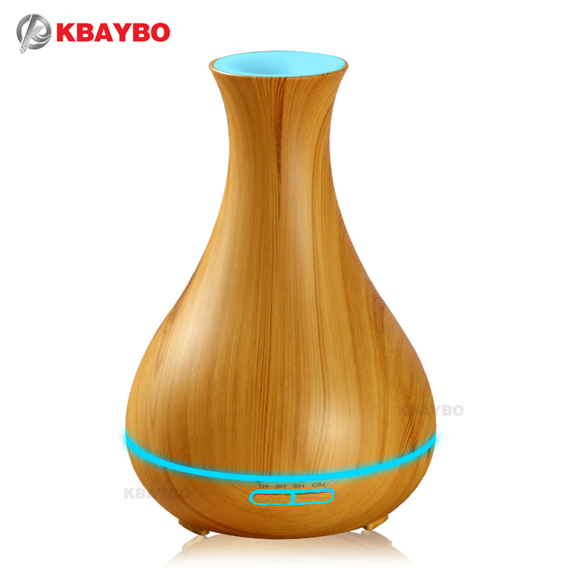 400ml Aroma Essential Oil Diffuser Wood Grain Ultrasonic Cool Mist Humidifier for Office Home Bedroom Living Room Study Yoga Spa<br>