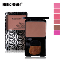 Music Flower Face Makeup Sleek Cheeks Powder Blush Palette Make Up Facial Bronzer Matte Blusher With Brush Mineralize Cosmetics(China)