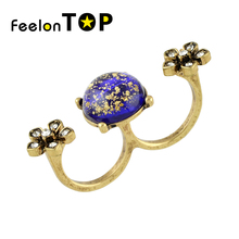New Arrival Trendy Antique Gold-Color Geometric Purple  Rhinestone Flower Double Finger  Rings for Women
