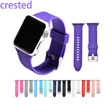 CRESTED sport silicone watch strap for apple watch band 42 mm/38 rubber bracelet wrist band for iwatch 1 2 edition with adapter