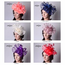 NEW elegant Sinamay fascinator hat with feather flowers for kentucky derby,melbourne cup,ascot races, wedding,church,prom(China)