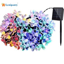 Lumiparty 50 LEDS 7M Peach Flower Solar Lamp Power LED String Fairy Lights Solar Garlands Garden Christmas Decor For Outdoor
