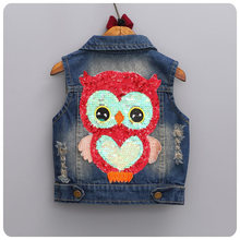 2016 Autumn New Pattern Han Banchao Burst Children's Garment Girl Baby Paillette Owl Cowboy Vest Girl Vest Waistcoat
