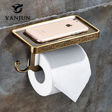 Yanjun Paper Towel Dispenser WC Roll Paper Rack With Shelf Wall Mounted And Hook Accessories For Bathroom YJ-8801(China)