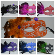 Princess Venetian Mask Crack Design Party Masks with Colorful Diamond Feather Mardi Gras Mask for Masquerade Ball Random Color
