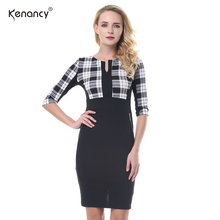 Autumn Spring Elegant Patchwork Stretch Tunic Dress  Casual Office Work Colours Blocks Dress Slim Bodycon Women Pencil Dresses