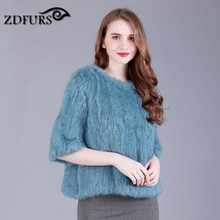 ZDFURS * real  rabbit fur knitted fur jacket coat fur o-neck pullover knitted fur coat outerwear ZDKR-165008