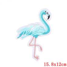 FUNIQUE 1Pc Flamingo Blue Cute Patches For Clothing Iron-On Patches Applique Sticker Decorative Hats Jeans Sewing Accessories