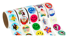 10 rolls(1000 stickers)/lot Cute Cartoon Paper Stickers Rolls for Kids Animals Smiley face Love Star Christmas Happy Birthday(China)