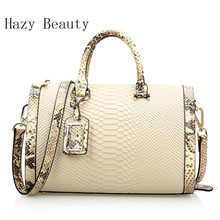 DHL Free Shipping! Hazy Beauty Women's Snake and Crocodile Cow Leather  Boston Tote Shoulder Handbags