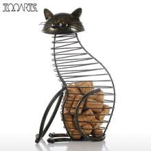 Tooarts Cat Barware Wine Cork Container Bar Accessories Iron Craft Modern Home Decor Gift Handicraft Metal Animal Ornament(China)