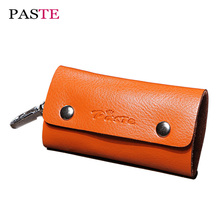 PASTE Brands Genuine Leather Women's Key Holder Fashion Soft Organizer Keychain Man Purse Clutch Key Wallets For Keys Case Ring