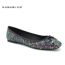 Sequin Glitter Ballet Flat Shoes Women Blue Colorful Square Toe Bow Knot Slip On Sequined ladies wedding spring autumn flats(China)