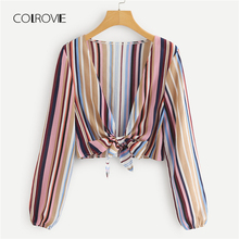 Buy COLROVIE Multicolor Deep V Neck Knot Front Striped Crop Top Tee 2018 Autumn Long Sleeve Shirt Women Blouse Casual Women Clothing for $8.99 in AliExpress store