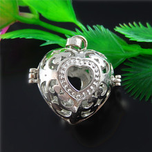 2pcs/lot Fashion Hollow Heart Oil Locket Wishes Box Necklace Pendant 20*19mm Handmade Man Women Gift Jewelry Making Crafts 51539(China)