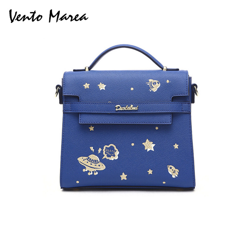 Blue Handbag PU Leather High Quality Funny Top-Handle Bag Embroidery Shoulder Hard Crossbody Bag Flap Space Totes For Women 2017<br>