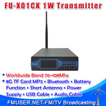 Freeshipping FMUSER FU-X01CK 1W FM Broadcast Transmitter High-grade Configuration MP3+Bluetooth+8G TF Card+18650 Battery