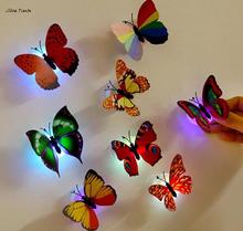 ISHOWTIENDA 10 PCS 3D Wall Stickers Lifelike Butterfly Powered LED Lights Wall Stickers 3D House Decoration Battery Included(China)