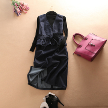 Popular Ruffle Denim Dresses Stylish Long Denim Bow Dress Summer Casual Suits with Pure Black Turtleneck Pullover Sweater(China)