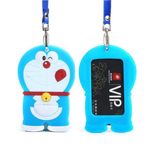 YIYOHI Cartoon Totoro Doraemon Shaped Named Card Holder Identity Badge with Lanyard Silica Gel Neck Strap Card Bus ID Holders